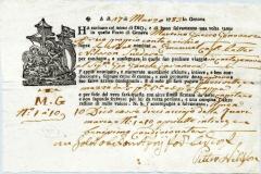 1783 10 marzo da Genova a Cartagena con gilda della corporazione e logo religioso
