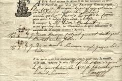 1785 25 Giugno da Nice a le Havre, polizza di carico redatta a Smirne con allegata la distinta incollata