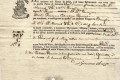 1785 5 Novembre da Livorno a Oneglia, con gilda della corporazione