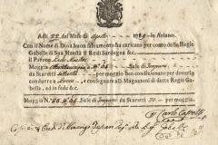 1789 22 Agosto da Ariano a Lavia, con stemma gentilizio.