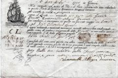 1796 23 Luglio da Genova a Catania, carta filigranata.